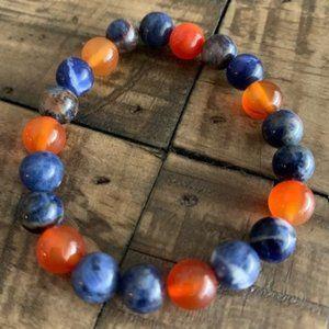 Blue Sodalite & Orange Carnelian Chakra Bracelet